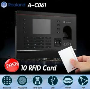 Realand A c061 Biometric Fingerprint Time Attendance Clock Tcp ip Usb 10 Cards