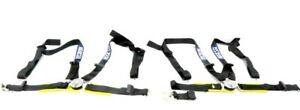 Sparco Racing 5 6 Point Seat Belt Harness Black W Yellow Pads Center Release Am