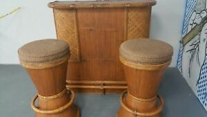 Vintage Mid Century Bamboo Rattan Bar With Matching Bar Stools