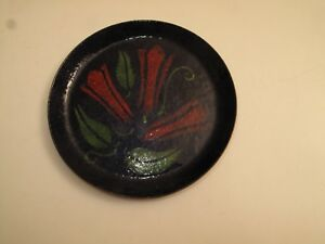 Vtg Copper Enamel Tray Dish Wine Bottle Coaster Chile Peppers Red Blue Green Mcm