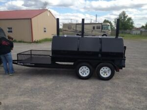 Rotisserie Bbq Grill Smoker Cooker On 16 Foot Trailer