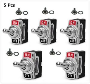 5x Heavy Duty 20a 125v Spst 2 pin On off Toggle Switch With Waterproof Boot Car