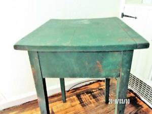 Aafa 19thc Early Antique Primitive Hepplewhite Work Table Old Paint Wedding