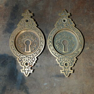 Original Antique Eastlake Cast Brass Round Pocket Door Pulls Backplates Hardware