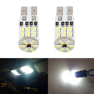 2 X 6000k White Led Interior Map Dome License Plate Light T10 194 168 W5w Bulbs