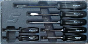 New Snap On 7 Piece Black Hard Handle Screwdriver Set Sddx70a