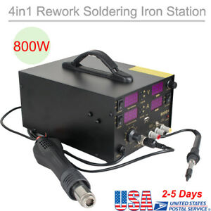 4in1 Heat Hot Air Gun Rework Station Soldering Iron Dc Power Supply 800w Us Ship