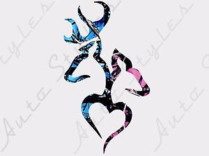 Camo Deer Buck Whitetail Hunting Car Window Truck Decal Vinyl Sticker Heart