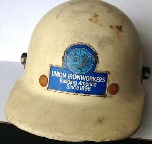 Vtg Fibre Metal Super Glass Hard Hat Union Ironworkers Shell Oil Co