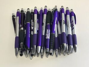 30 Lot Misprint Ink Pens With Soft Tip Stylus For Touch Screen Purple Barrels