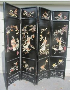 Antique Chinese Wood Lacquered Carved Stone 4 Panel Floor Screen Room Divider