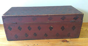 Antique New England Trunk In Old Red Paint W Potato Stamp Decoration Early Box