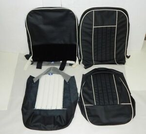 New Black W White Vinyl Seat Upholstery Set Mgb 1962 68 Top Quality Made In Usa