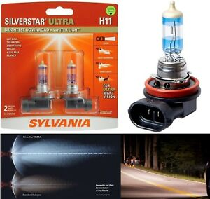 Sylvania Silverstar Ultra H11 55w Two Bulbs Head Light Low Beam Replace Upgrade