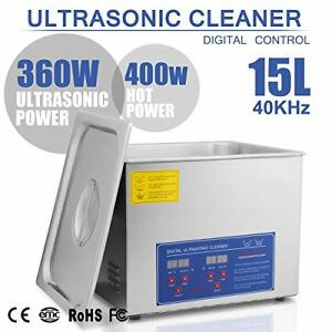 Happybuy Ultrasonic Cleaner 15l Large Commercial Stainless Steel With Heater And