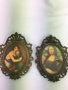 2 Vintage Brass Ornate Oval Picture Frames Action Made In Italy