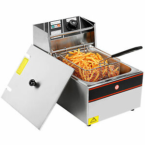 Commercial Electric Deep Fryer Single Tank Restaurant Frying Cooker Home 2500w