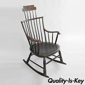 Antique American Primitive Black Painted Wood Windsor Rocking Chair Colonial