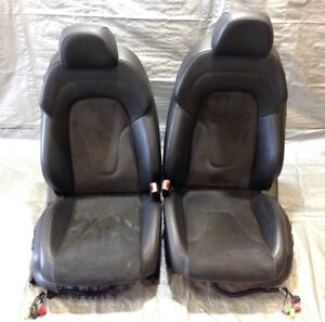 2008 2010 Audi Tt Coupe Black Leather W Alcantara Front Power Seats Pair T2001