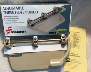 Skilcraft Adjustable 3 hole Punch 1 4 Hole 30 Sheet Cap Beige New