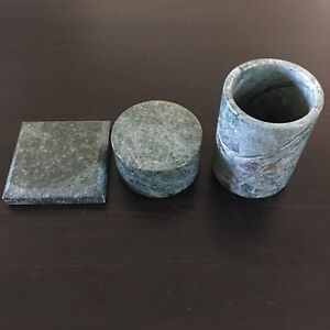 Vintage Stone Desk Set Coaster Pencil Cup O flaherty And Belgum Attorneys At Law