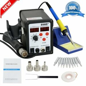 898d 2 in 1 Electric Smd Desolder Soldering Station Hot Air Gun With 11 Tips Te
