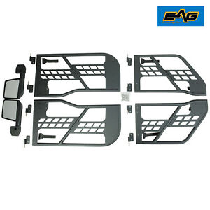 07 18 Jeep Wrangler Jk 4 Door Steel Tube Doors Safari Blk With Side View Mirror