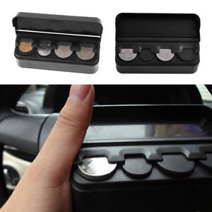 Car Interior Coin Case Auto Storage Box Holder Container Plastic Black Organizer