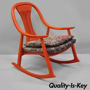 Vintage Mid Century Danish Modern Wood Rattan Wicker Red Rocking Chair Rocker