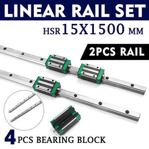 Sbr 15 1500mm 15mm Linear Slide Guide Shaft 2 Rail 4sbr15ca Bearing Block Cnc