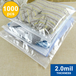 1000 Reclosable Zipper Bags 12 X 12 Zip Lock Bags 2 Mil clear