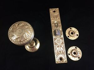 Mallory And Wheeler Antique Door Set 2 Knobs Mortise 2 Escutcheon Plates Spindle