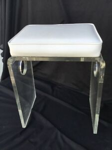 Vintage Lucite Dressing Table Bench Stool Makeup Hollywood Regency Mid Century
