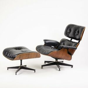 1970 S Herman Miller Eames Lounge Chair Ottoman Rosewood 670 671 Black Leather