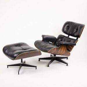 1980 S Herman Miller Eames Lounge Chair Ottoman Rosewood 670 671 Black Leather