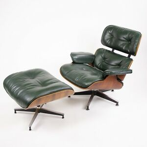 1960 S Herman Miller Eames Lounge Chair Ottoman Rosewood 670 671 Green Leather