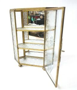 Vintage Brass Framed Table Top Glass Mirrored Curio Cabinet Display Shelf Stand