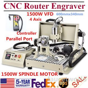 4 Axis 6040 Cnc Router 3d Engraver Metal Mill Machine 1500w Vfd mach3 Controller