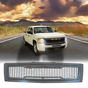 07 13 Chevy Silverado1500 Grille Charcoal Gray Raptor Style Abs With Led Lights