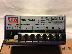 Power Supply Meanwell Ac dc 24v 6 3a 115 264v In Enclosed Panel Mount Sp Series