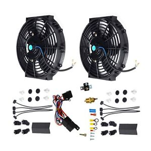 2x Black 10 Electric Radiator Cooling Fan thermostat Relay Mounting Kits