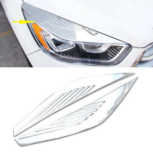 2x For Ford Escape Kuga 2017 2018 Abs Chrome Head Light Eyebrow Decorative Cover