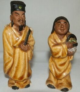Lot Of 2 Antique Chinese Clay Mud Man Miniature Figurines