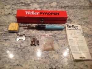 Weller Pyropen Butane Gas Solder Iron Torch Kit W Extra Tips tested