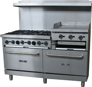 Omega Equipment 60 Gas Range griddle Combo 6 Burners 24 Griddle