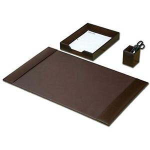 New Desk Pads Blotters Accessory Set 3 piece Genuine Brown Leather