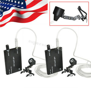 2pcs Portable Led Head Light Lamp For Dental Surgical Binocular Loupes Clip Ce