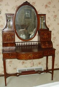 Antique French Ladies Writing Desk Vanity Marquetry