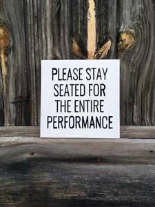 Rustic Wood Sign Please Stay Seated Country Bathroom Farmhouse Primitive Home