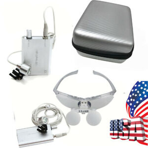 Usa Silver Dental Loupes 3 5x 420mm Surgical Binocular Led Head Light Lamp Case